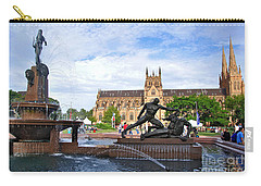 Hyde Park Fountain And St. Mary's Cathedral Carry-all Pouch by Kaye Menner