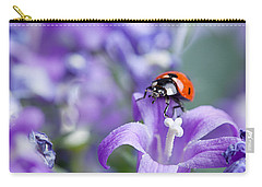 Ladybug And Bellflowers Carry-all Pouch by Nailia Schwarz