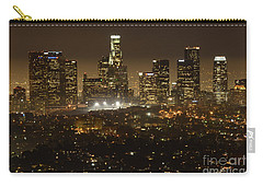 Los Angeles Skyline At Night Carry-all Pouch by Bob Christopher