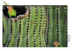 Lovebirds And The Saguaro  Carry-all Pouch by Saija  Lehtonen