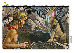 Oedipus Encountering The Sphinx Carry-all Pouch by Roger Payne