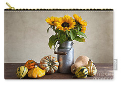 Pumpkins And Sunflowers Carry-all Pouch by Nailia Schwarz