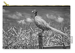 Ringed Neck Pheasant On A Fencepost By A Cornfield Carry-all Pouch by Randall Nyhof