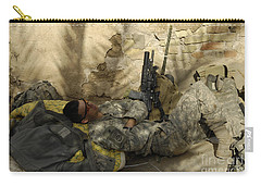 U.s. Army Specialist Takes A Nap Carry-all Pouch by Stocktrek Images