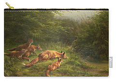 Foxes Waiting For The Prey   Carry-all Pouch by Carl Friedrich Deiker