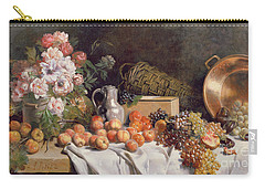 Still Life With Flowers And Fruit On A Table Carry-all Pouch by Alfred Petit