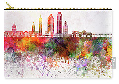 Austin Skyline In Watercolor Background Carry-all Pouch by Pablo Romero