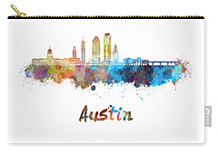 Austin Skyline In Watercolor Carry-all Pouch by Pablo Romero