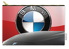 Black B M W - Front Grill Ornament And 3 D Badge On Red Carry-all Pouch by Serge Averbukh