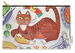Christmas Cat And The Turkey Carry-all Pouch by Cathy Baxter