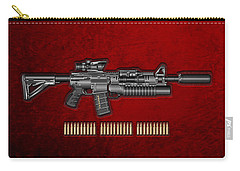 Colt  M 4 A 1  S O P M O D Carbine With 5.56 N A T O Rounds On Red Velvet  Carry-all Pouch by Serge Averbukh