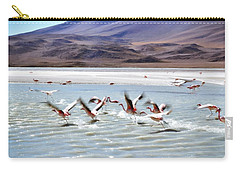 Flying Flamingos Carry-all Pouch by Sandy Taylor