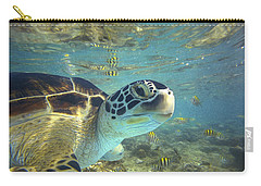 Green Sea Turtle Balicasag Island Carry-all Pouch by Tim Fitzharris