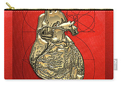 Heart Of Gold - Golden Human Heart On Red Canvas Carry-all Pouch by Serge Averbukh