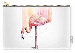 Pink Flamingo Watercolor Rain Carry-all Pouch by Olga Shvartsur