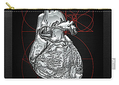 Silver Human Heart On Black Canvas Carry-all Pouch by Serge Averbukh