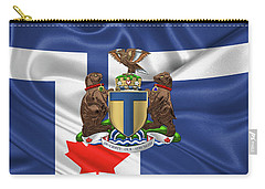 Toronto - Coat Of Arms Over City Of Toronto Flag  Carry-all Pouch by Serge Averbukh