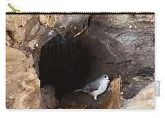 Tufted Titmouse In A Log Carry-all Pouch by Ted Kinsman
