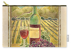 Vineyard Pinot Noir Grapes N Wine - Batik Style Carry-all Pouch by Audrey Jeanne Roberts