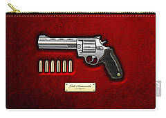 .44 Magnum Colt Anaconda On Red Velvet  Carry-all Pouch by Serge Averbukh