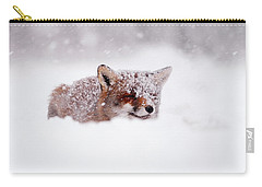 50 Shades Of White And A Touch Of Red Carry-all Pouch by Roeselien Raimond