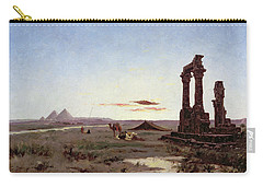 A Bedouin Encampment By A Ruined Temple  Carry-all Pouch by Alexandre Gabriel Decamps