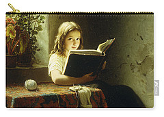 A Girl Reading Carry-all Pouch by Johann Georg Meyer