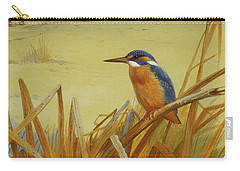 A Kingfisher Amongst Reeds In Winter Carry-all Pouch by Archibald Thorburn