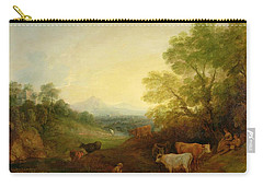 A Landscape With Cattle And Figures By A Stream And A Distant Bridge Carry-all Pouch by Thomas Gainsborough
