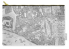 A Map Of The Tower Of London Carry-all Pouch by John Rocque