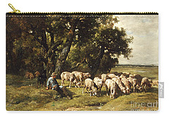 A Shepherd And His Flock Carry-all Pouch by Charles Emile Jacques