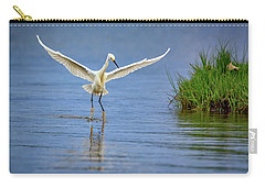 A Snowy Egret Dip-fishing Carry-all Pouch by Rick Berk