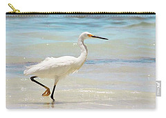 A Snowy Egret (egretta Thula) At Mahoe Carry-all Pouch by John Edwards
