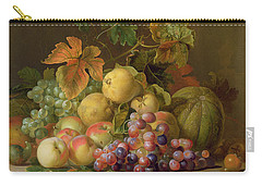 A Still Life Of Melons Grapes And Peaches On A Ledge Carry-all Pouch by Jakob Bogdani