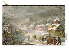 A Winter Landscape With Travellers On A Path Carry-all Pouch by Denys van Alsloot