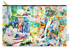 Allen Ginsberg And Bob Dylan - Watercolor Portrait Carry-all Pouch by Fabrizio Cassetta