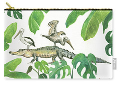 Alligator And Pelicans Carry-all Pouch by Juan Bosco