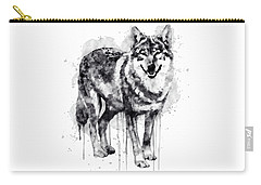 Alpha Wolf Black And White Carry-all Pouch by Marian Voicu