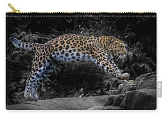 Amur Leopard On The Hunt Carry-all Pouch by Martin Newman