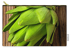 Artichoke On Old Wooden Board Carry-all Pouch by Garry Gay