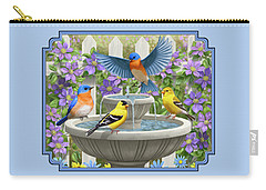 Fountain Festivities - Birds And Birdbath Painting Carry-all Pouch by Crista Forest