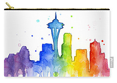 Seattle Rainbow Watercolor Carry-all Pouch by Olga Shvartsur
