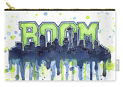 Seattle 12th Man Legion Of Boom Watercolor Carry-all Pouch by Olga Shvartsur
