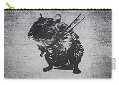 Angry Street Art Mouse  Hamster Baseball Edit  Carry-all Pouch by Philipp Rietz