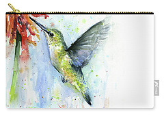 Hummingbird And Red Flower Watercolor Carry-all Pouch by Olga Shvartsur