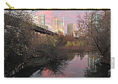 Austin Hike And Bike Trail - Train Trestle 1 Sunset Triptych Right Carry-all Pouch by Felipe Adan Lerma