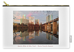 Austin Hike And Bike Trail - Train Trestle 1 Sunset Left Greeting Card Poster - Over Lady Bird Lake Carry-all Pouch by Felipe Adan Lerma
