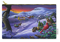 Christmas Sleigh Ride Winter Landscape Oil Painting - Cardinals Country Farm - Small Town Folk Art Carry-all Pouch by Walt Curlee