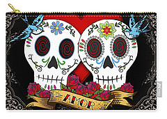 Love Skulls II Carry-all Pouch by Tammy Wetzel