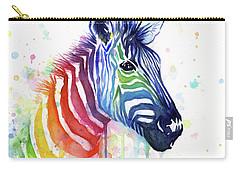 Rainbow Zebra - Ode To Fruit Stripes Carry-all Pouch by Olga Shvartsur